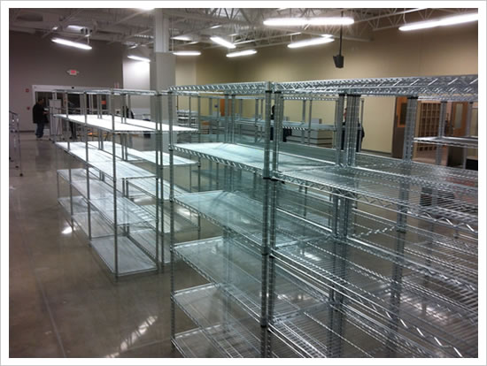 wire shelving as follows Chrome